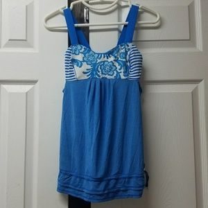 Lululemon Back On Track Floral Blue Racerback top